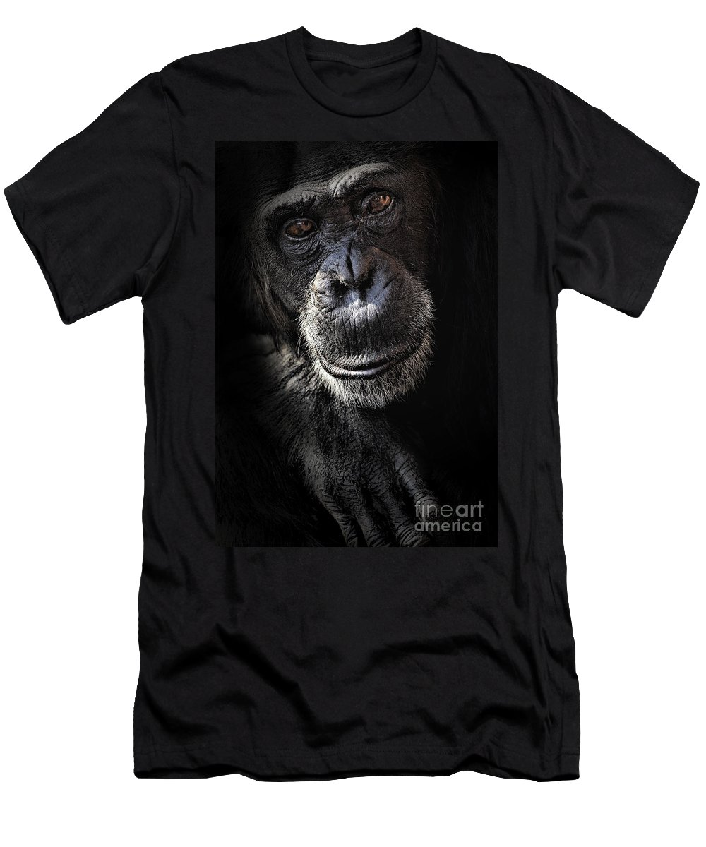 Chimp Men's T-Shirt (Athletic Fit) featuring the photograph Portrait Of A Chimpanzee by Sheila Smart Fine Art Photography