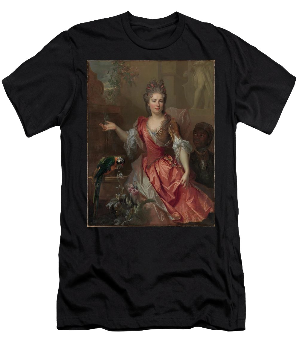 Portrait Of A Woman Men's T-Shirt (Athletic Fit) featuring the painting Portrait Of A Woman by MotionAge Designs