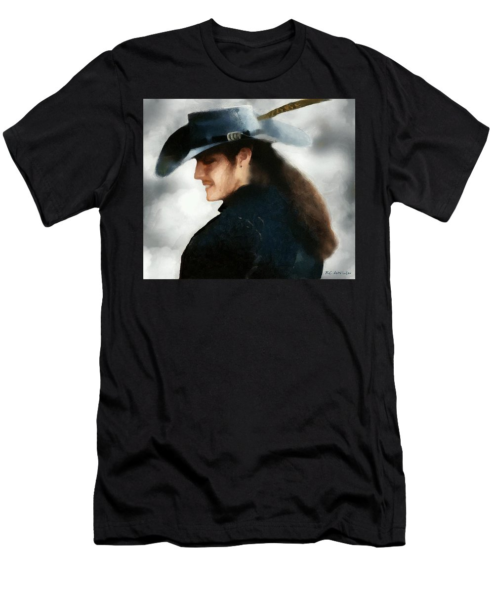 Buccaneer Men's T-Shirt (Athletic Fit) featuring the painting Portrait Of A Young Man As A Buccaneer by RC DeWinter