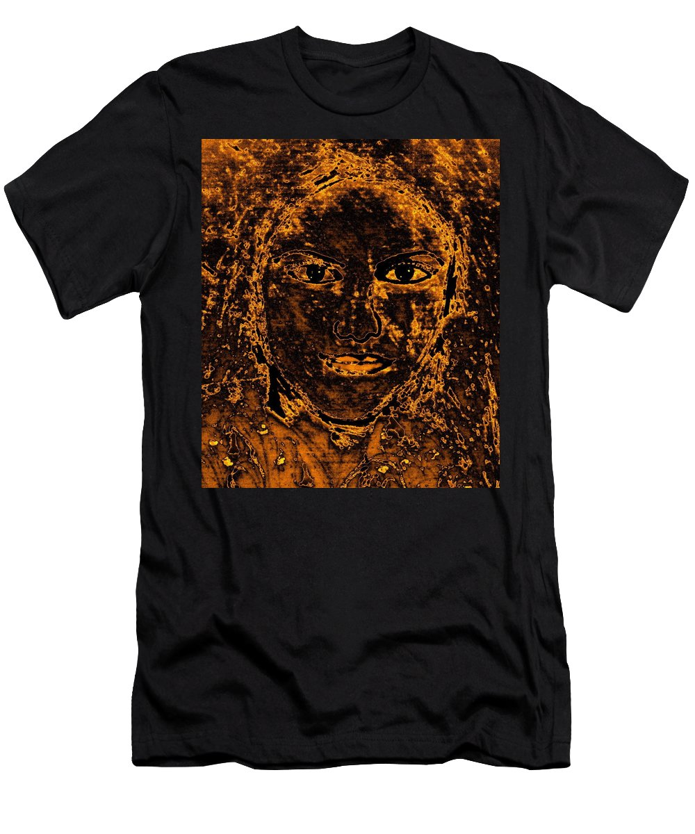 Ancient Woman Men's T-Shirt (Athletic Fit) featuring the mixed media Portrait Of An Ancient Woman by Natalie Holland