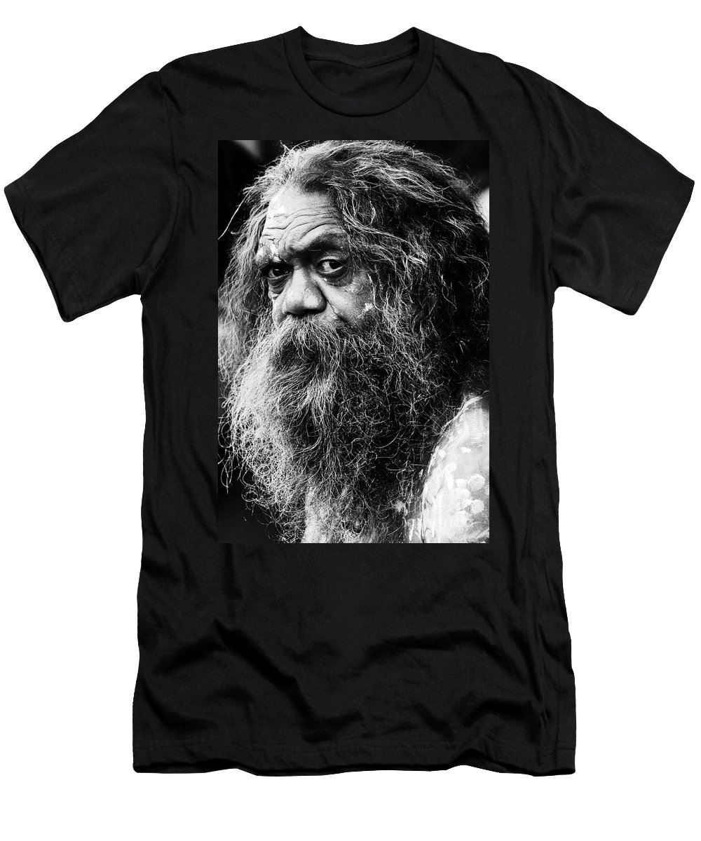 Aborigine Aboriginal Australian Men's T-Shirt (Athletic Fit) featuring the photograph Portrait Of An Australian Aborigine by Avalon Fine Art Photography