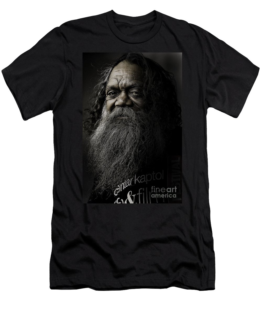Aboriginal Men's T-Shirt (Athletic Fit) featuring the photograph Portrait Of Cedric by Avalon Fine Art Photography
