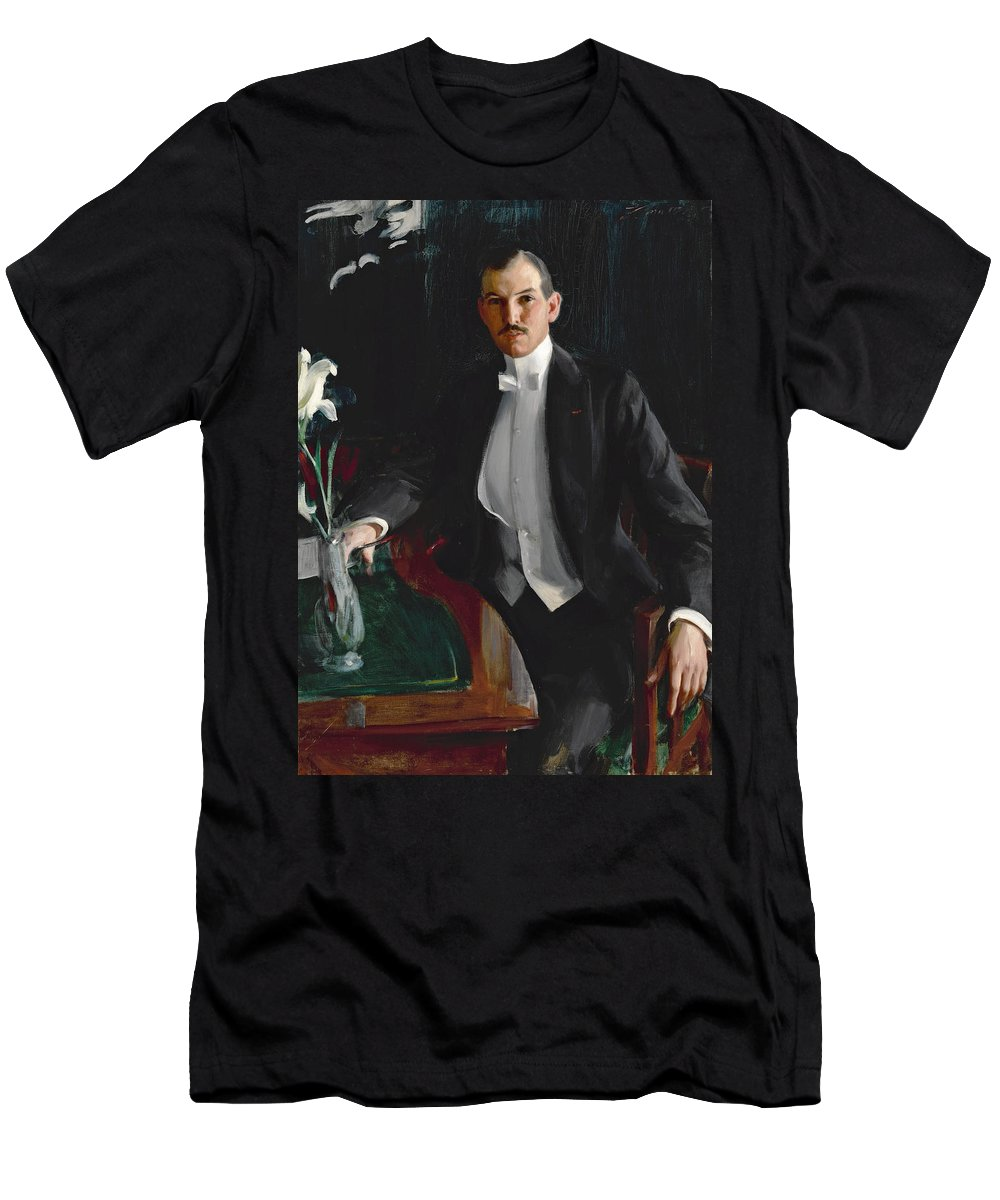 Anders Zorn Men's T-Shirt (Athletic Fit) featuring the painting Portrait Of Harald Bildt by Anders Zorn