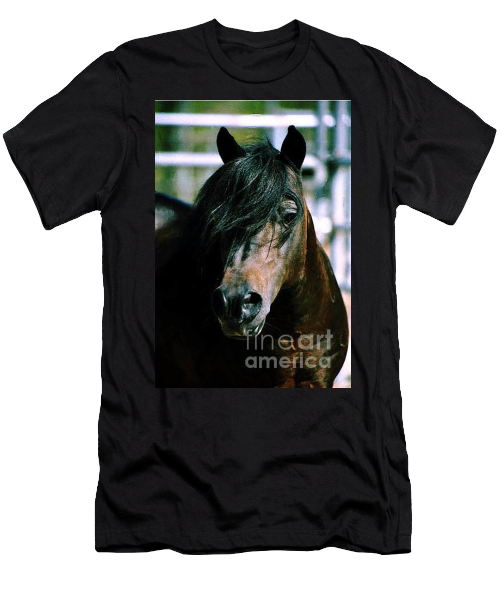 Horse Men's T-Shirt (Athletic Fit) featuring the photograph Portrait Of His Majesty - The King by Kathy McClure