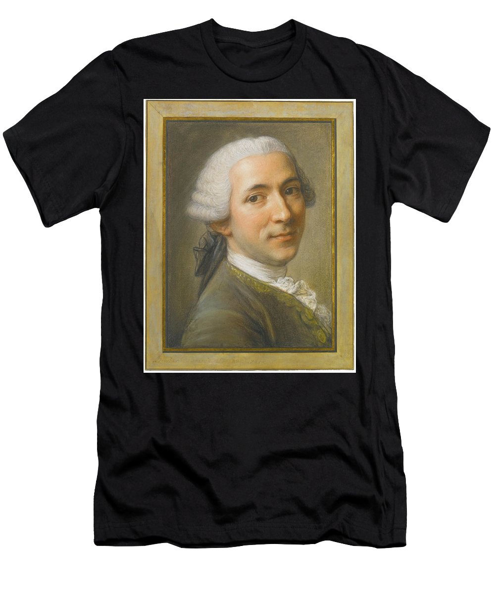 Fran�ois Boucher Portrait Of Jean-claude Gaspard De Sireul (ca. 1710-20-1781) Officer Men's T-Shirt (Athletic Fit) featuring the painting Portrait Of Jean Claude Gaspard by MotionAge Designs