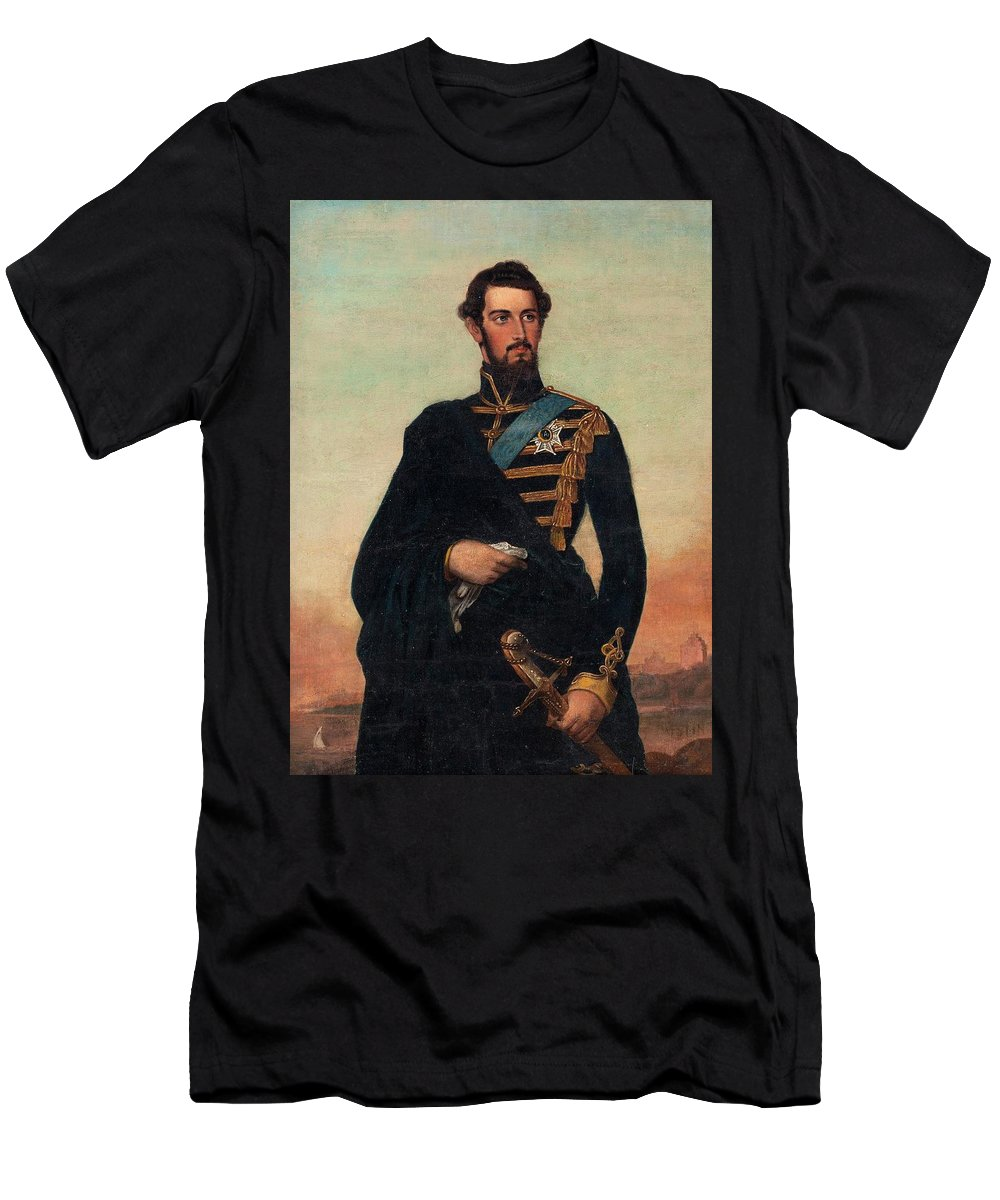 Fredrik Westin Circle Of Men's T-Shirt (Athletic Fit) featuring the painting Portrait Of Karl Xv In Uniform by MotionAge Designs