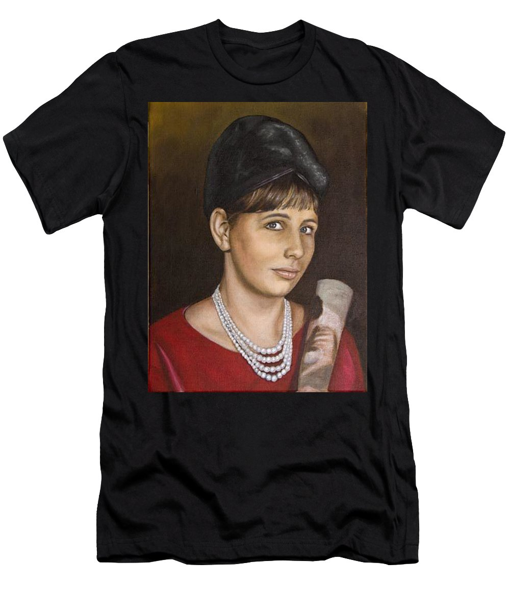Portrait Men's T-Shirt (Athletic Fit) featuring the painting Portrait Of My Mother Early Sixties by Rob De Vries
