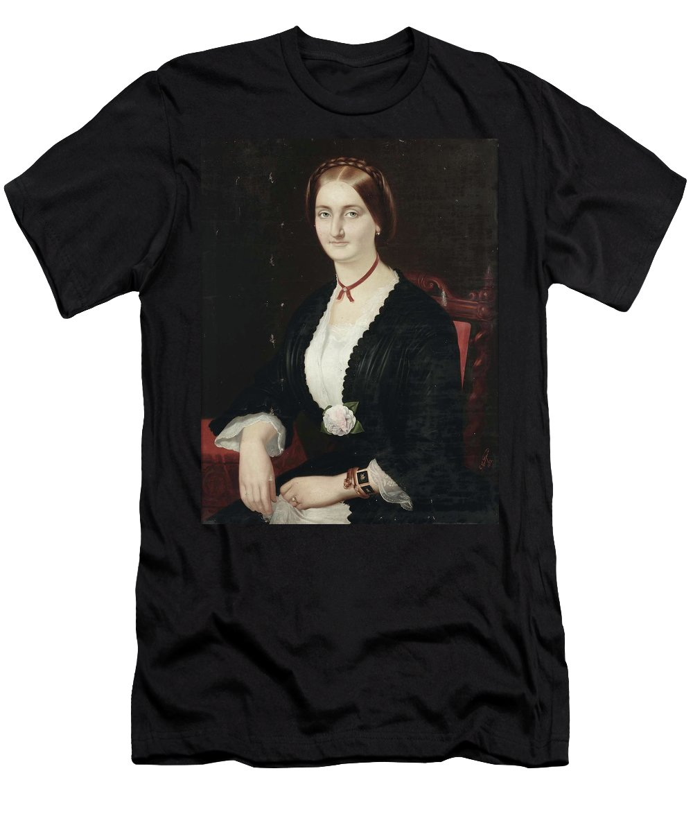 Gabriele Castagnola (1828-1883) Men's T-Shirt (Athletic Fit) featuring the painting Portrait Of Woman With Peony by MotionAge Designs