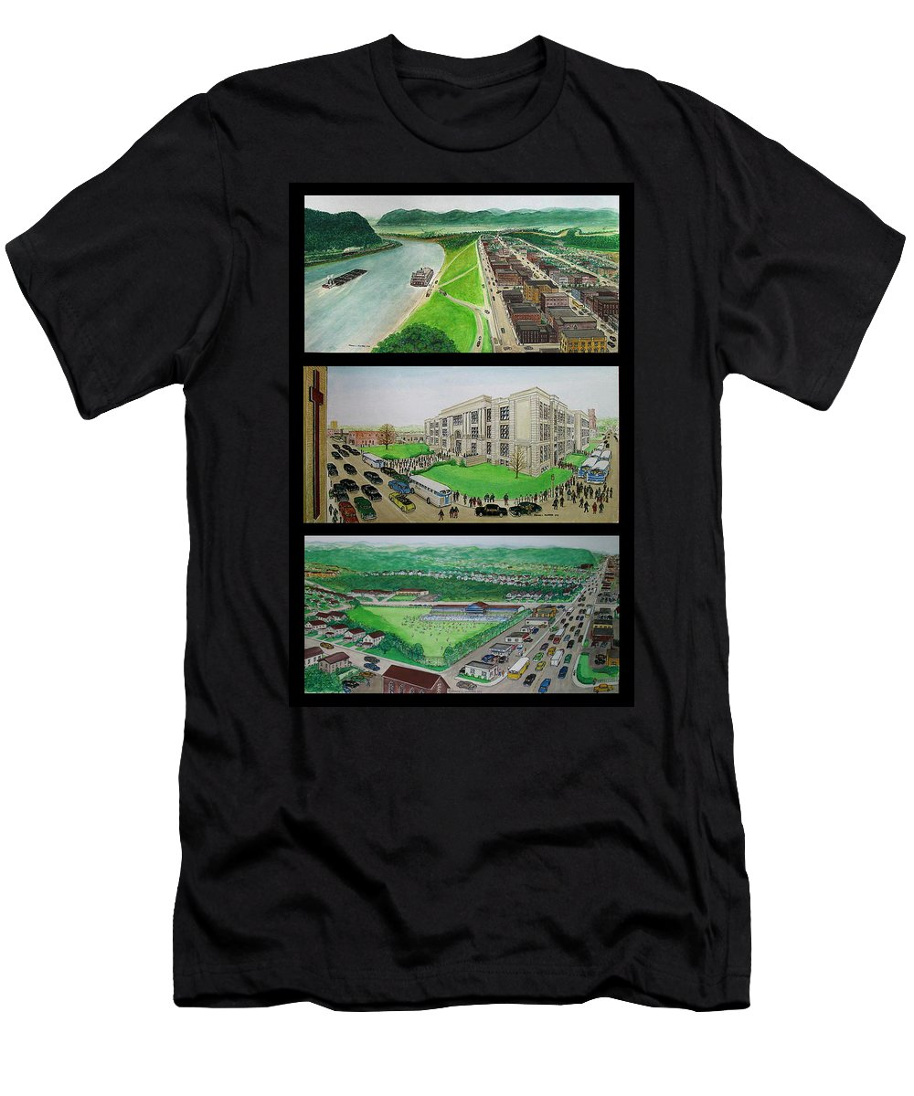 Ohio River High School Swimming Pool Men's T-Shirt (Athletic Fit) featuring the painting Portsmouth Ohio 1955 by Frank Hunter