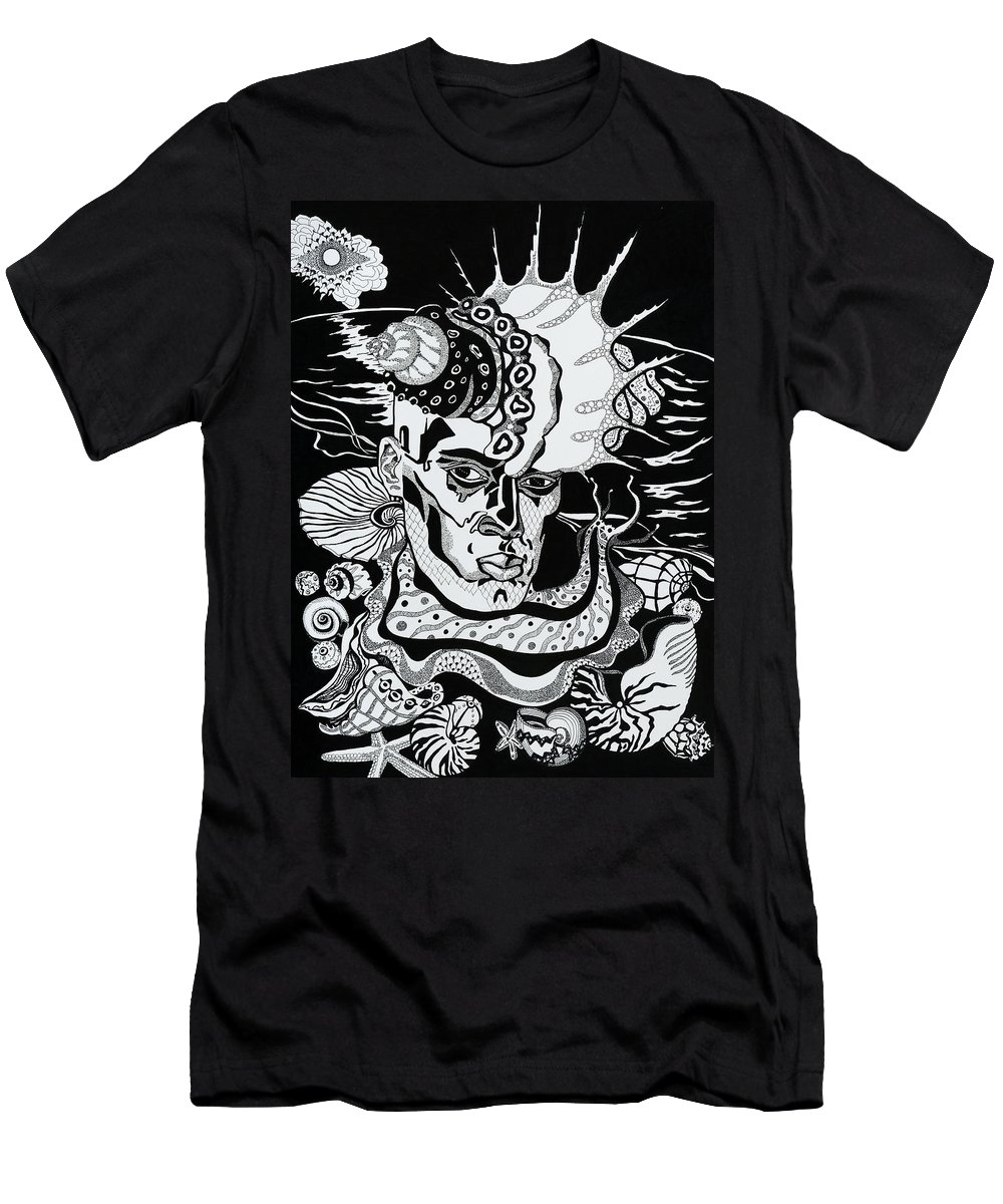 Surreal Men's T-Shirt (Athletic Fit) featuring the drawing Poseidon by Yelena Tylkina