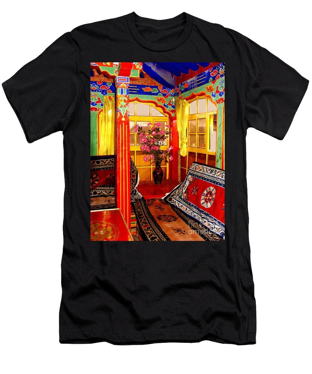 Tibet Men's T-Shirt (Athletic Fit) featuring the photograph Potala Tea Room by Roberta Bragan