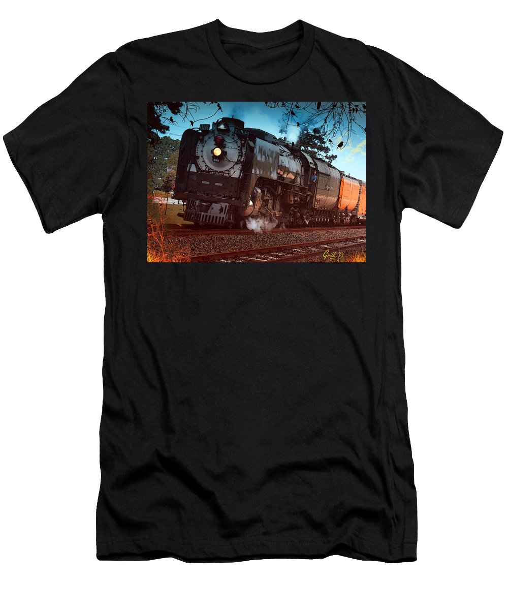 Trains Men's T-Shirt (Athletic Fit) featuring the digital art Pounding Up The Texas Grade by J Griff Griffin