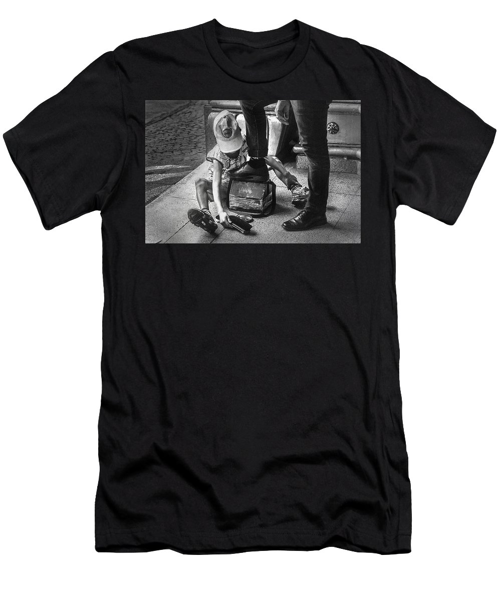 Poverty Men's T-Shirt (Athletic Fit) featuring the photograph Poverty In The Streets Of Paraguay by Peter Hayward Photographer