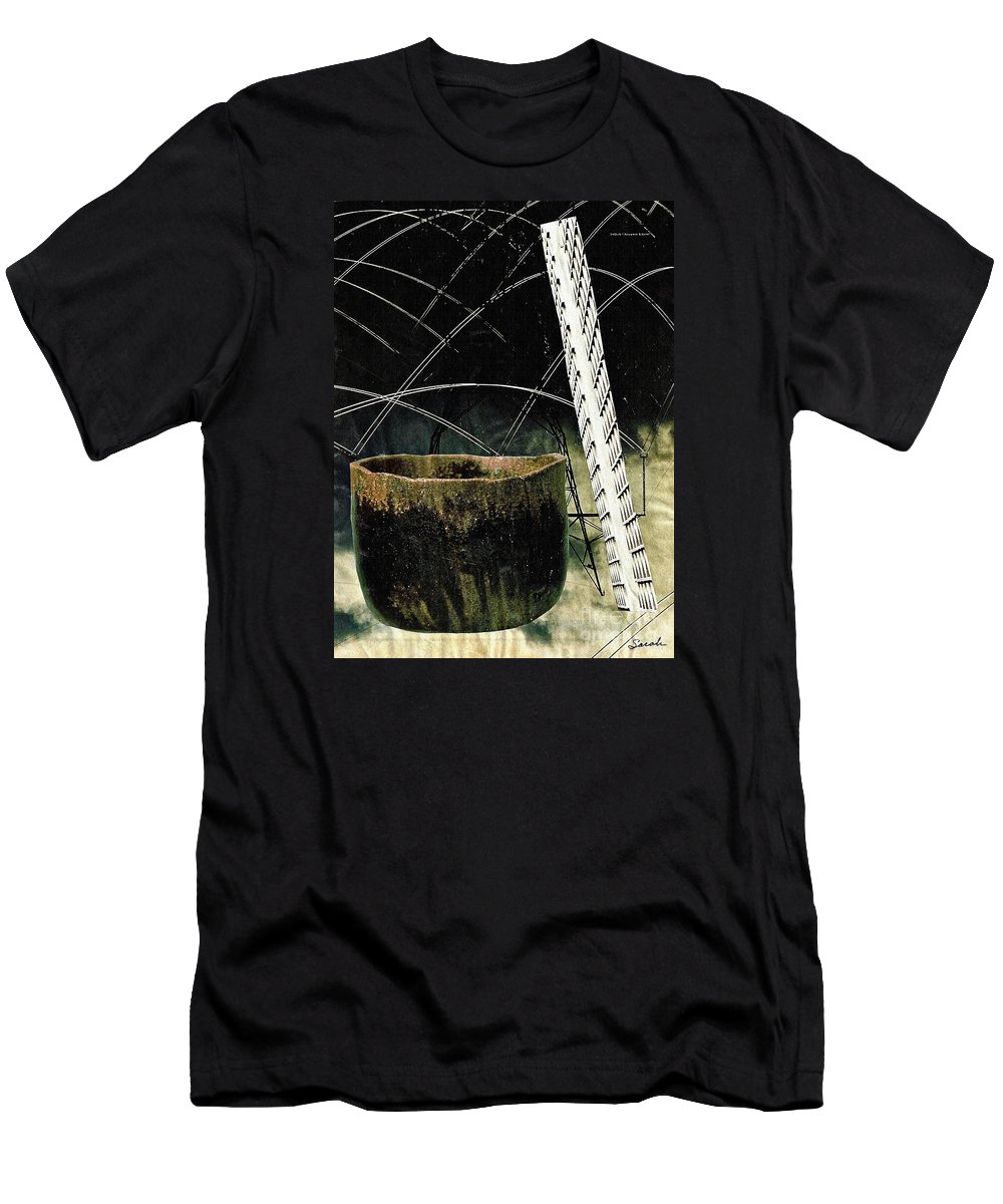 Abstract Men's T-Shirt (Athletic Fit) featuring the mixed media Power Lines by Sarah Loft