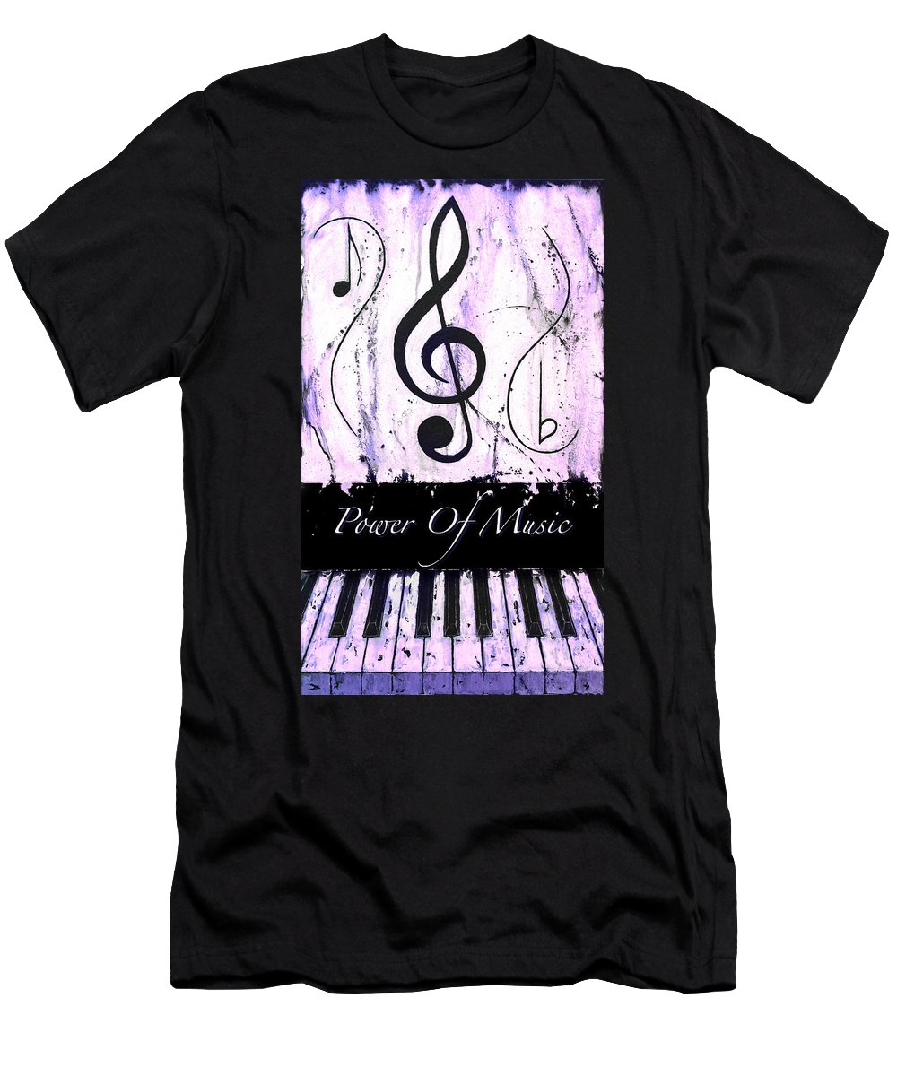 Power Of Music Purple Men's T-Shirt (Athletic Fit) featuring the mixed media Power Of Music Purple by Wayne Cantrell