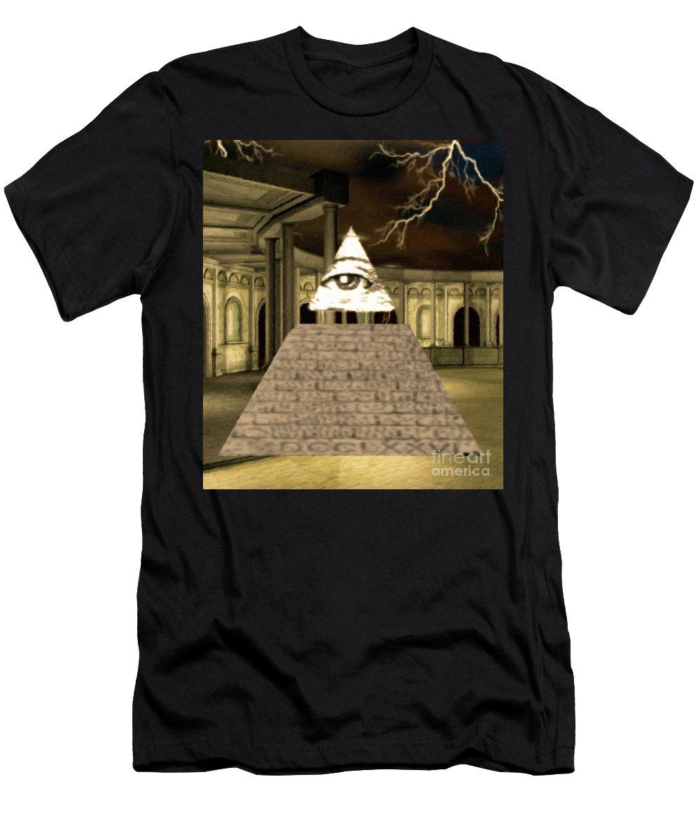 Illuminati Men's T-Shirt (Athletic Fit) featuring the painting Power Of The Hidden Ones by Pierre Blanchard