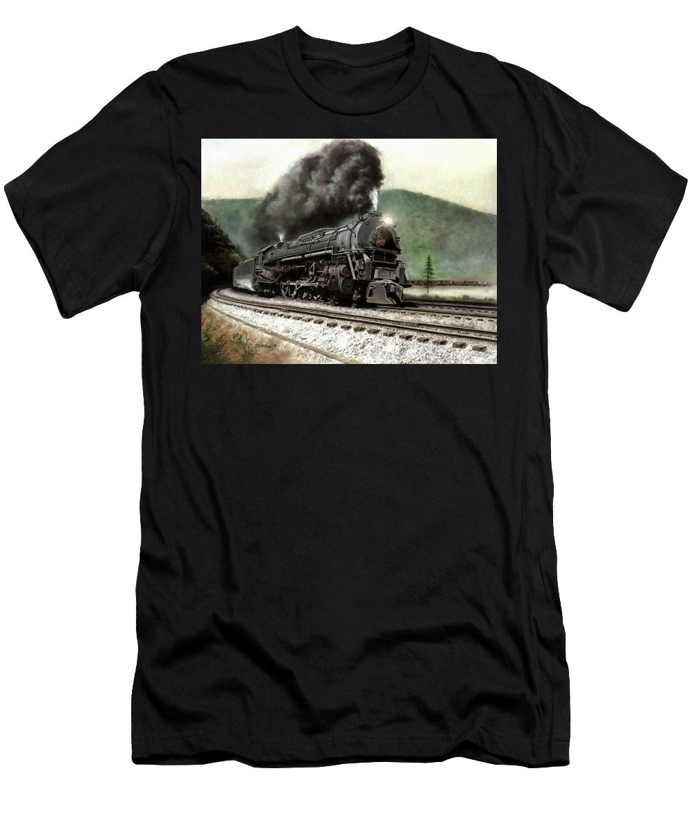 Men's T-Shirt (Athletic Fit) featuring the painting Power On The Curve by David Mittner