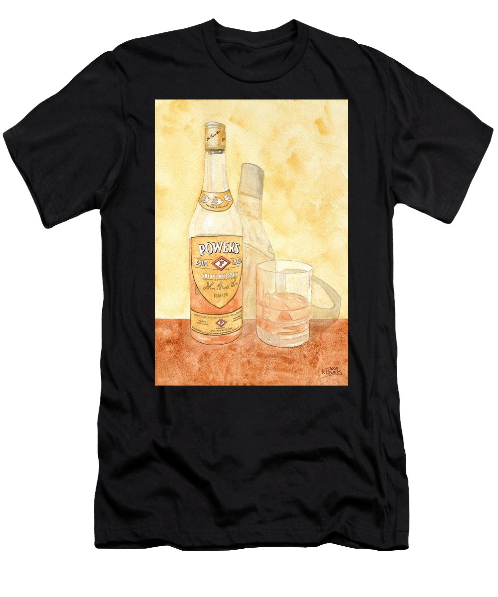 Irish Men's T-Shirt (Athletic Fit) featuring the painting Powers Irish Whiskey by Ken Powers