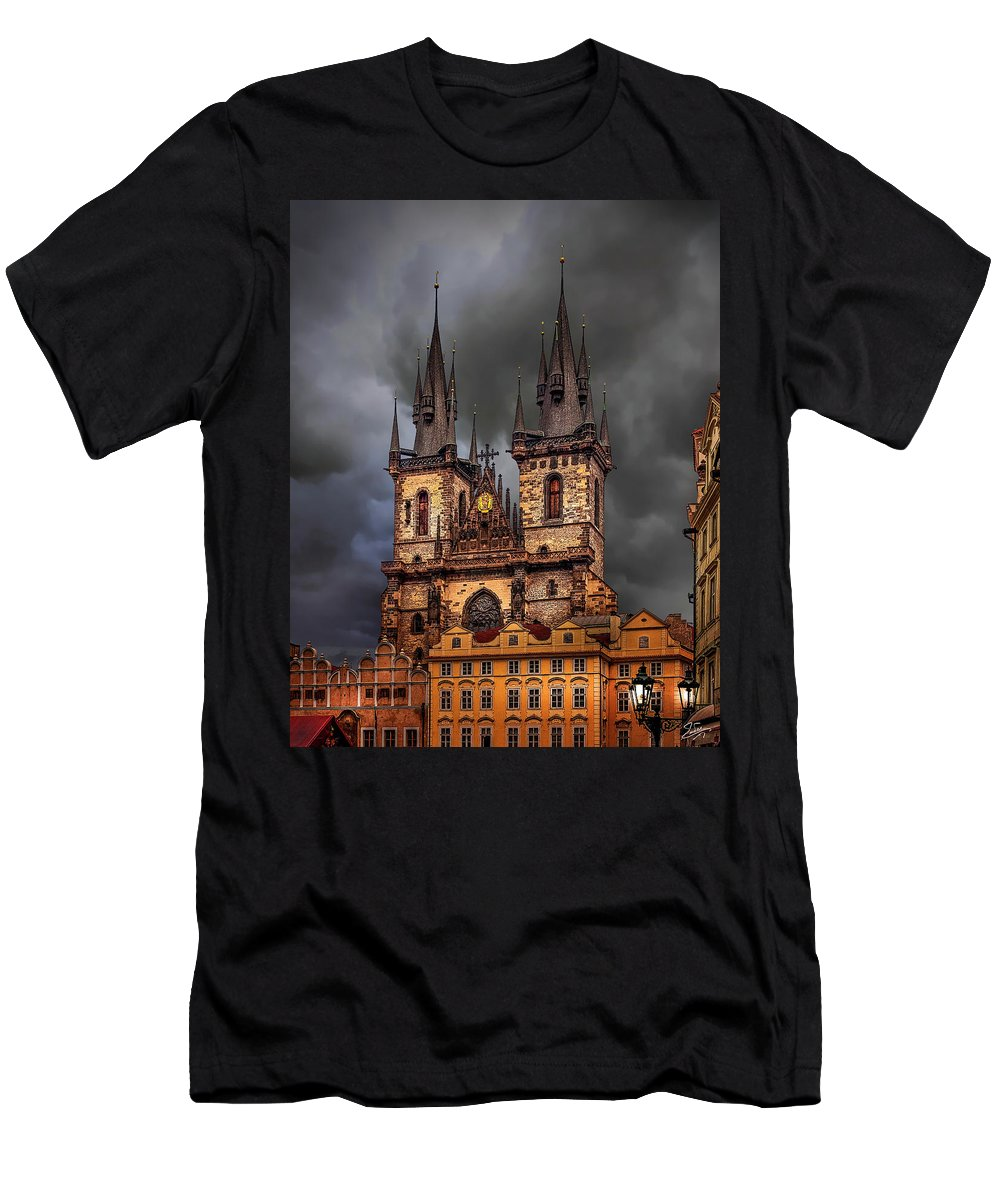 Prague Men's T-Shirt (Athletic Fit) featuring the photograph Prague Cathedral by Endre Balogh