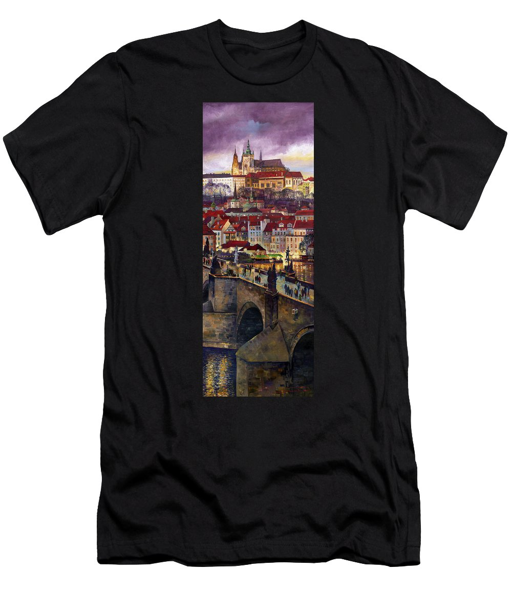 Prague T-Shirt featuring the painting Prague Charles Bridge with the Prague Castle by Yuriy Shevchuk