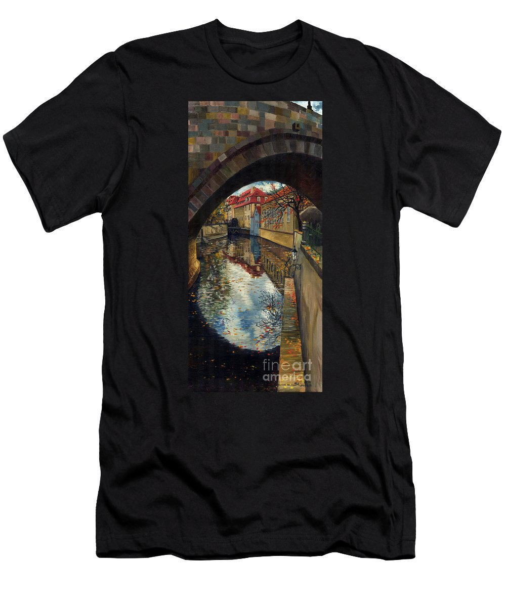 Oil Men's T-Shirt (Athletic Fit) featuring the painting Prague Chertovka 3 by Yuriy Shevchuk