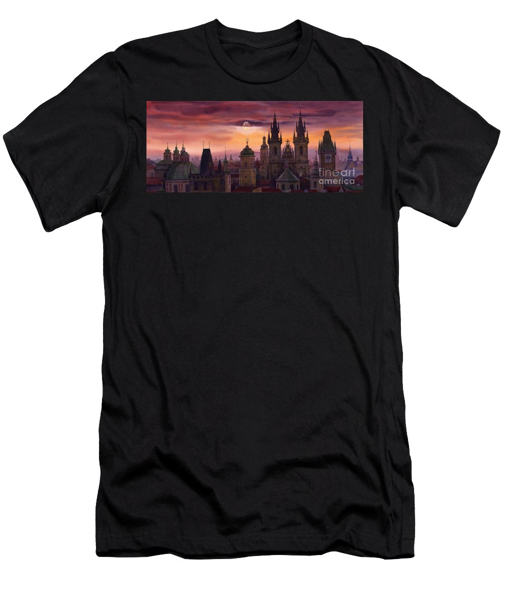 Cityscape Men's T-Shirt (Athletic Fit) featuring the painting Prague City Of Hundres Spiers by Yuriy Shevchuk
