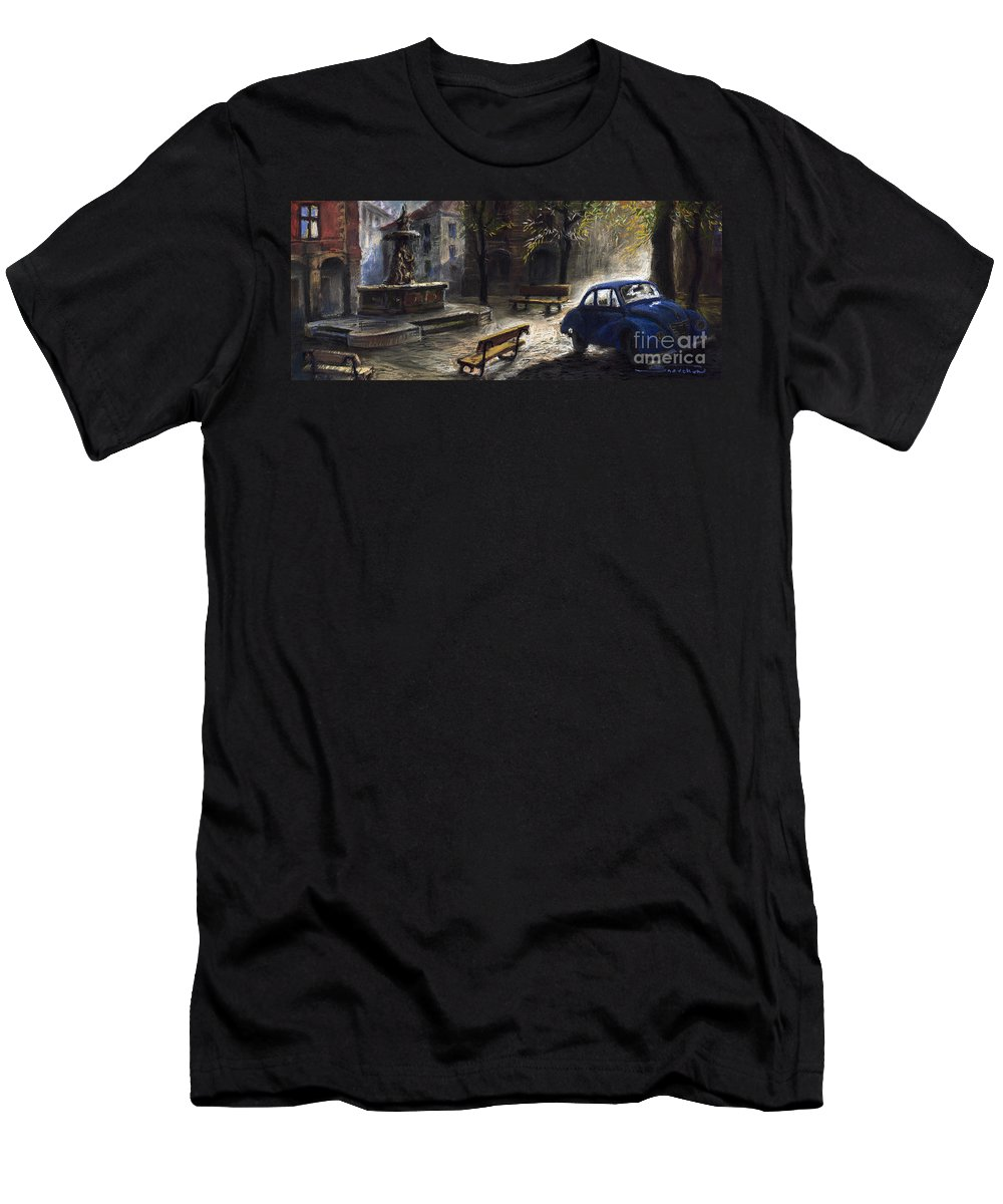 Prague Men's T-Shirt (Athletic Fit) featuring the painting Prague Old Fountain by Yuriy Shevchuk