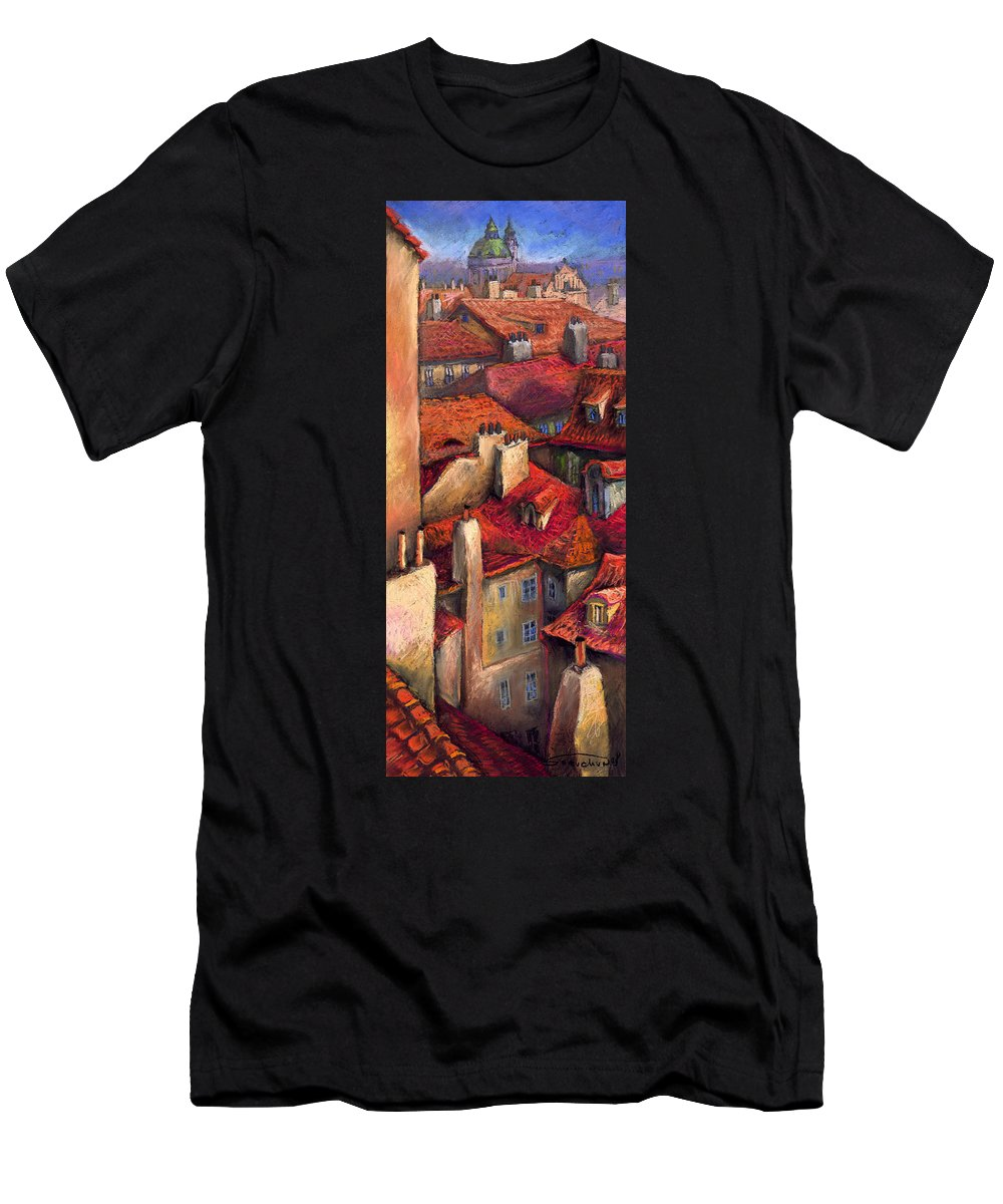 Prague Men's T-Shirt (Athletic Fit) featuring the painting Prague Roofs by Yuriy Shevchuk