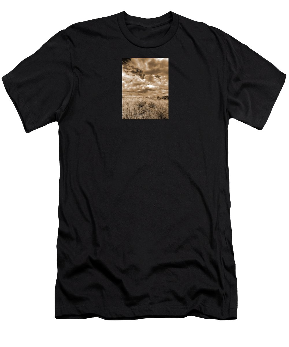 North Dakota Men's T-Shirt (Athletic Fit) featuring the photograph Prairie And Sky by Cris Fulton