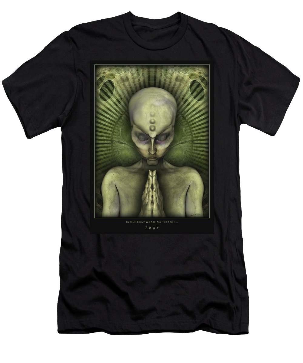 Alien Men's T-Shirt (Athletic Fit) featuring the digital art Pray In One Point We Are All The Same by Nandor Volovo