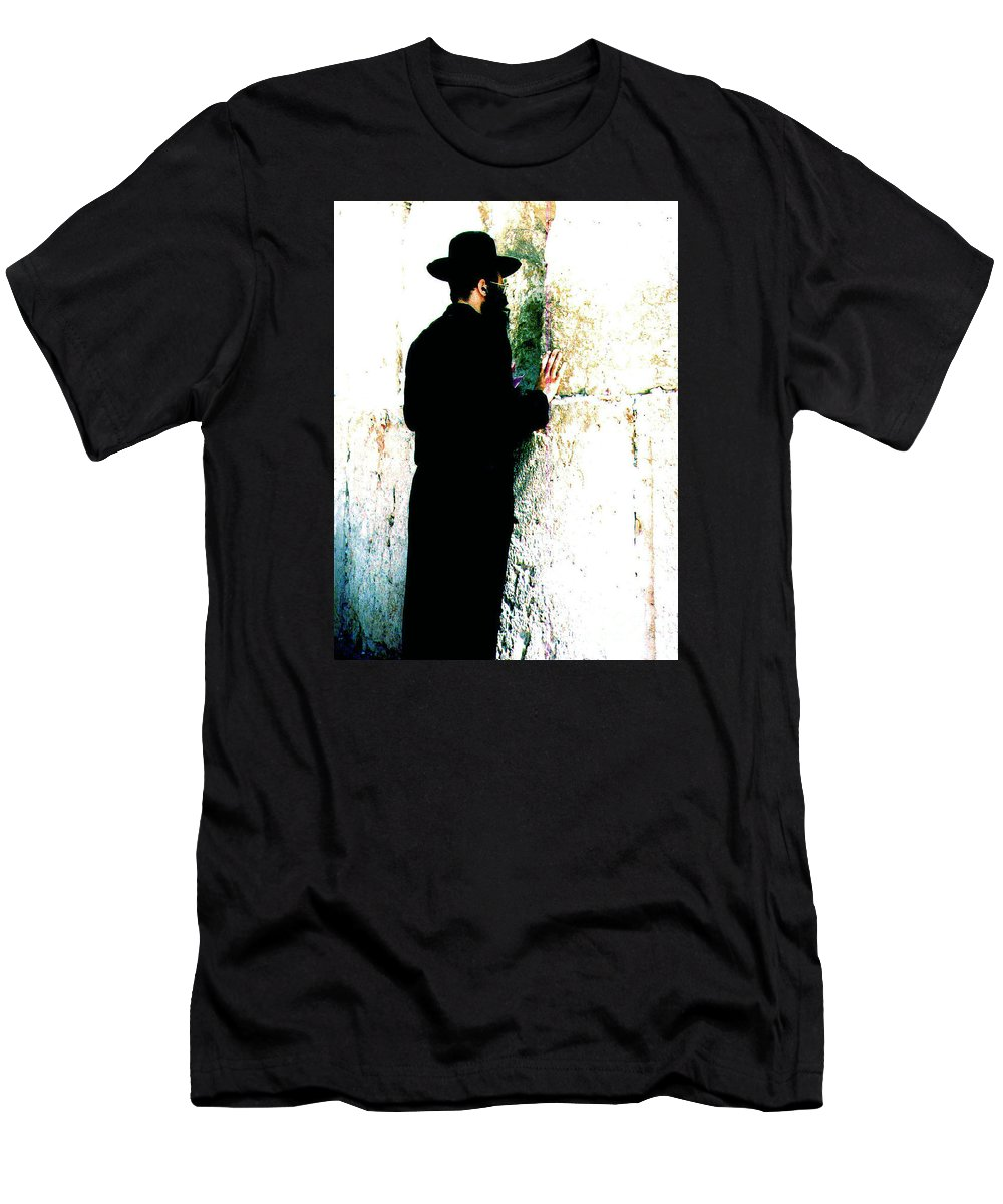 Israel Men's T-Shirt (Athletic Fit) featuring the photograph Praying At The Western Wall - Jerusalem Israel by Merton Allen