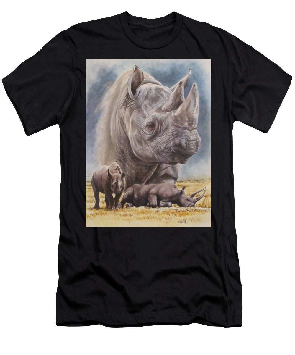 Wildlife Men's T-Shirt (Athletic Fit) featuring the mixed media Precarious by Barbara Keith