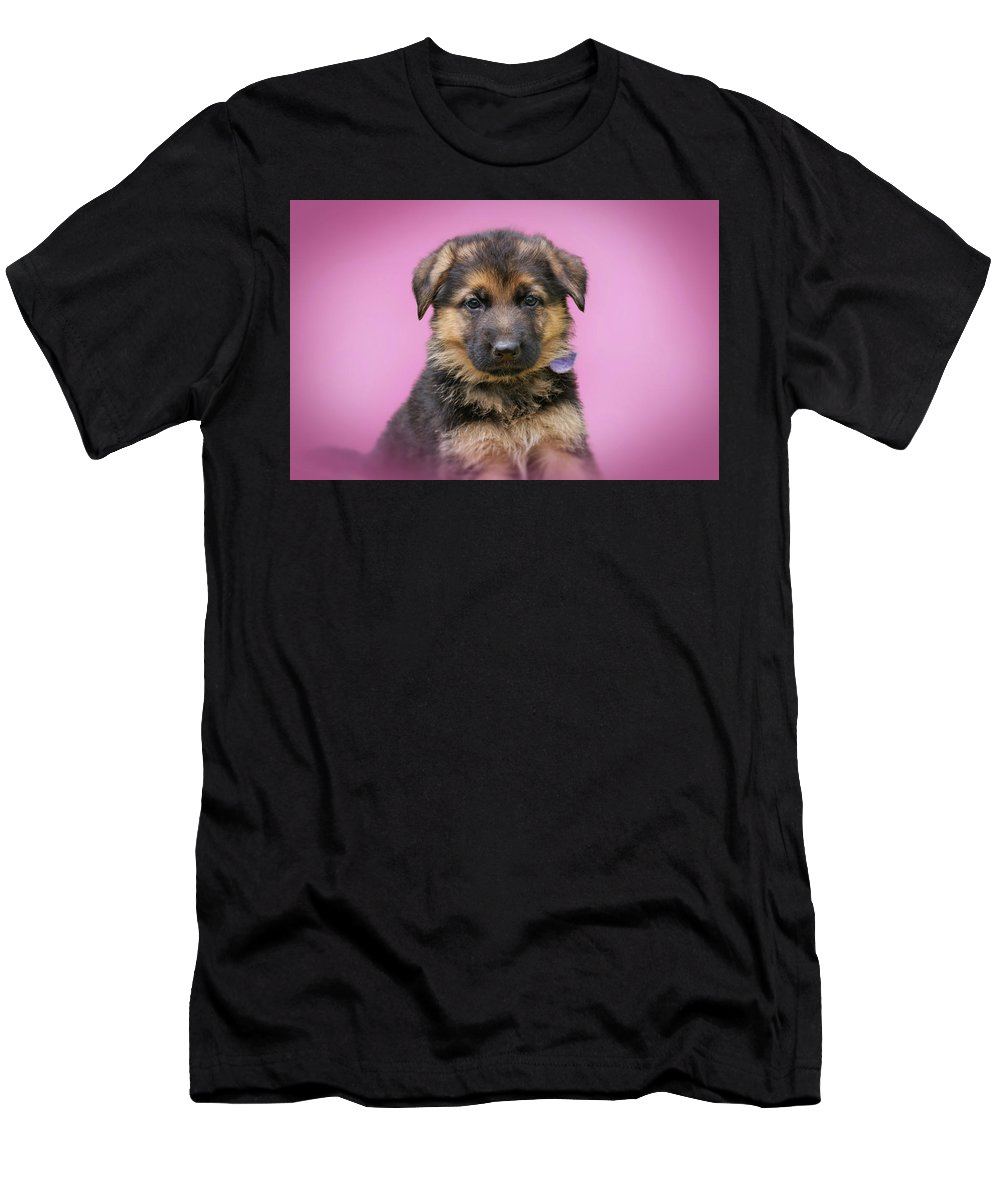 German Shepherd Dog Men's T-Shirt (Athletic Fit) featuring the photograph Pretty Puppy In Pink by Sandy Keeton