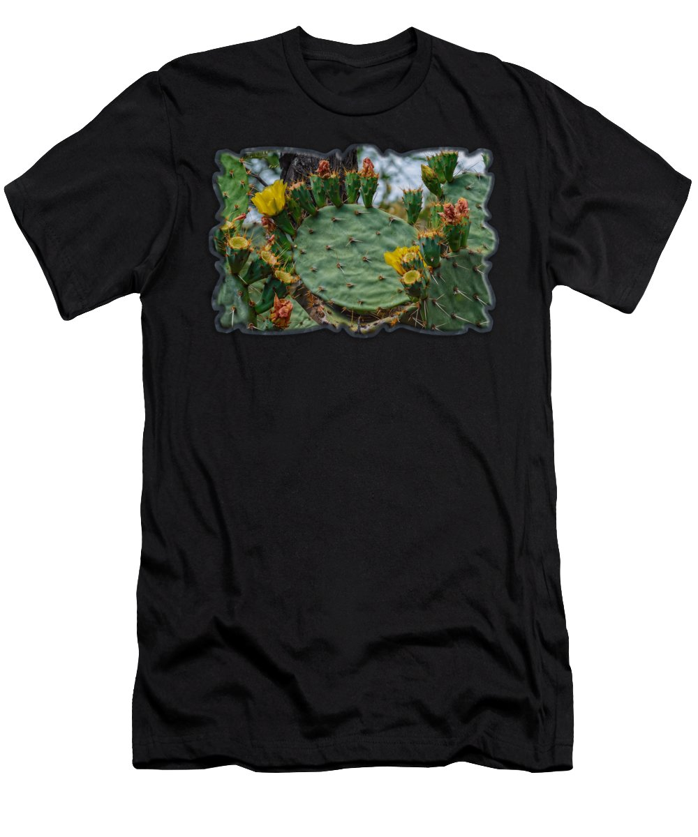 Mark Myhaver Men's T-Shirt (Athletic Fit) featuring the photograph Prickly Pear Flowers H35 by Mark Myhaver