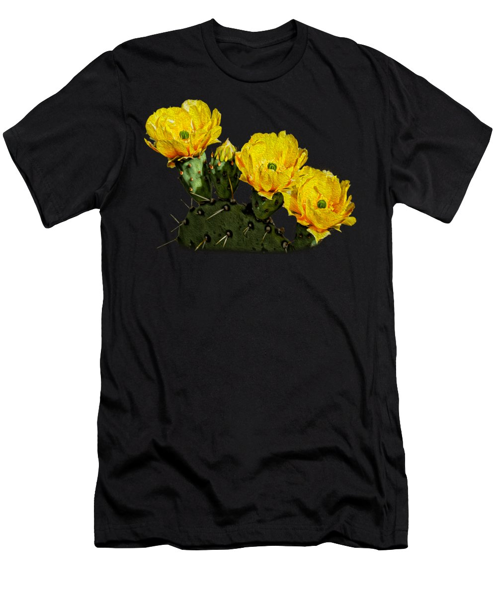 Arizona Men's T-Shirt (Athletic Fit) featuring the photograph Prickly Pear Flowers Op42 by Mark Myhaver