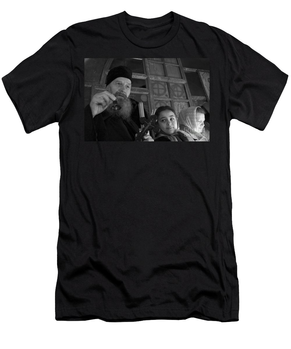 Christian Men's T-Shirt (Athletic Fit) featuring the photograph Priest And A Young Girl by Nahum Budin