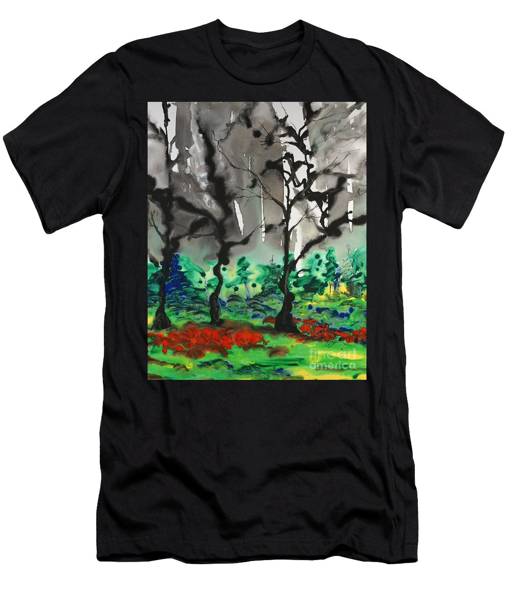 Forest Men's T-Shirt (Athletic Fit) featuring the painting Primary Forest by Nadine Rippelmeyer