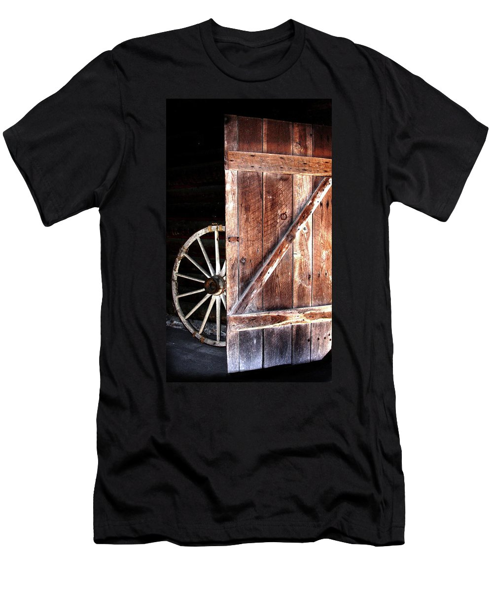 Door Men's T-Shirt (Athletic Fit) featuring the digital art Primitive by Kim Henderson