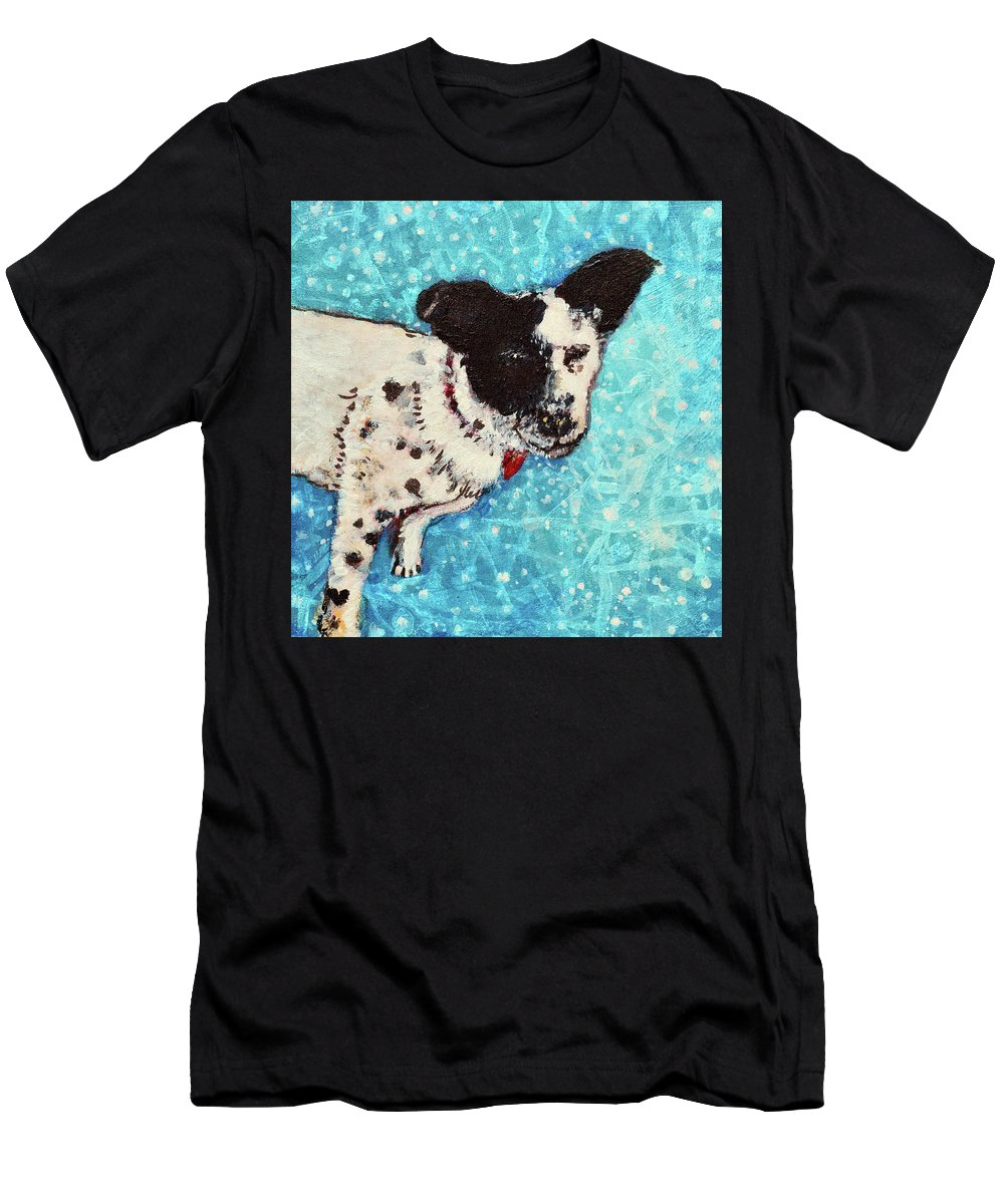 Pet Portraits Men's T-Shirt (Athletic Fit) featuring the painting Primrose Water Love by Ashleigh Dyan Bayer