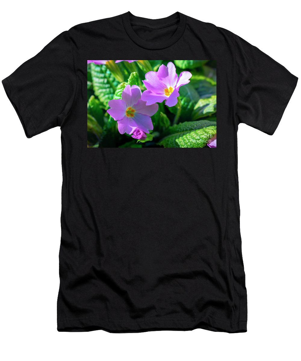 Primrose Men's T-Shirt (Athletic Fit) featuring the photograph Primroses by Nina Ficur Feenan