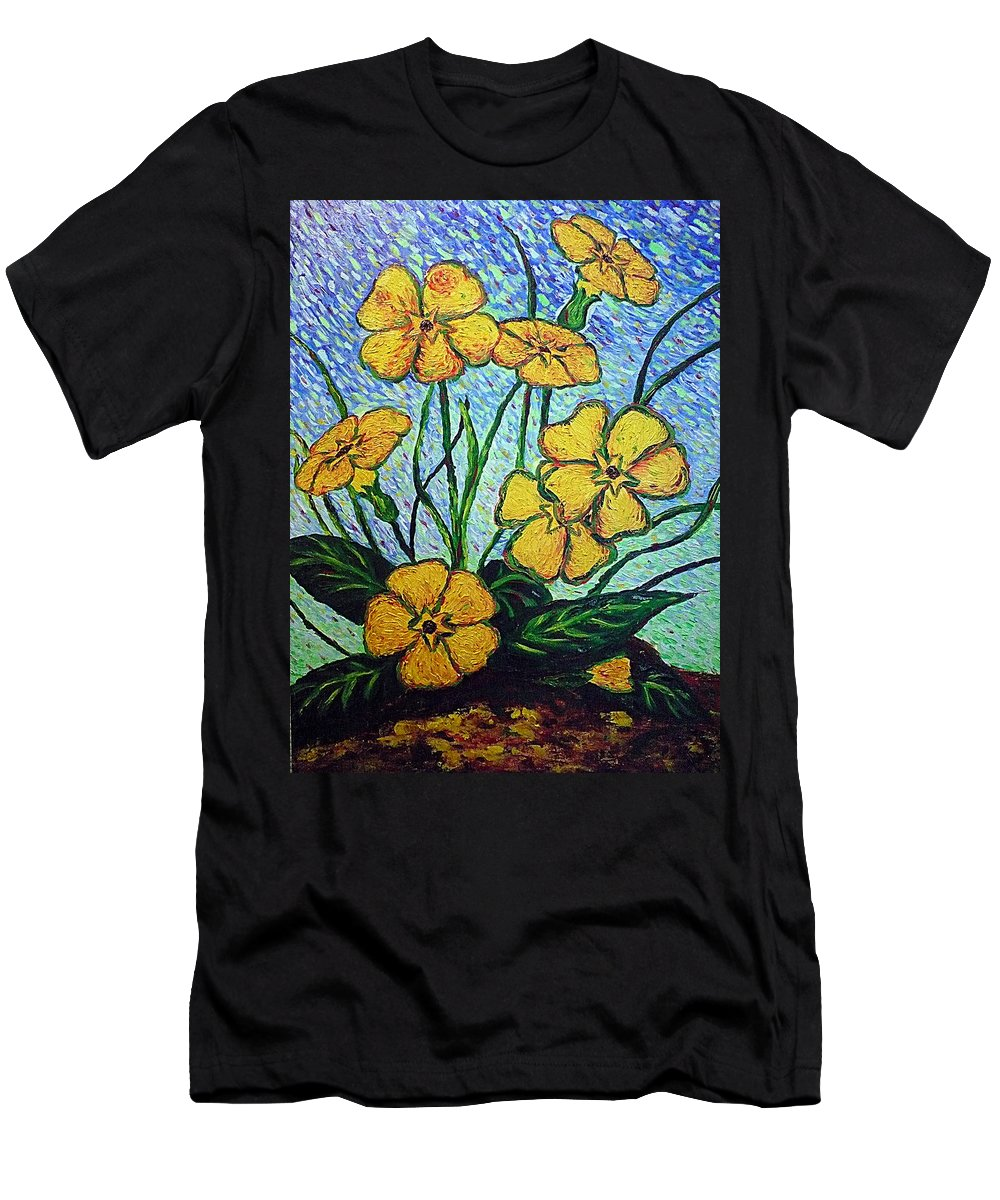 Flowers Men's T-Shirt (Athletic Fit) featuring the painting Primula Veris by Ericka Herazo