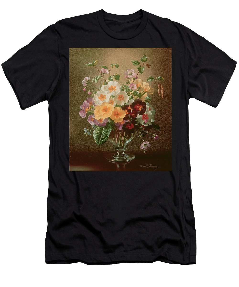 Catkin Men's T-Shirt (Athletic Fit) featuring the painting Primulas In A Glass Vase by Albert Williams