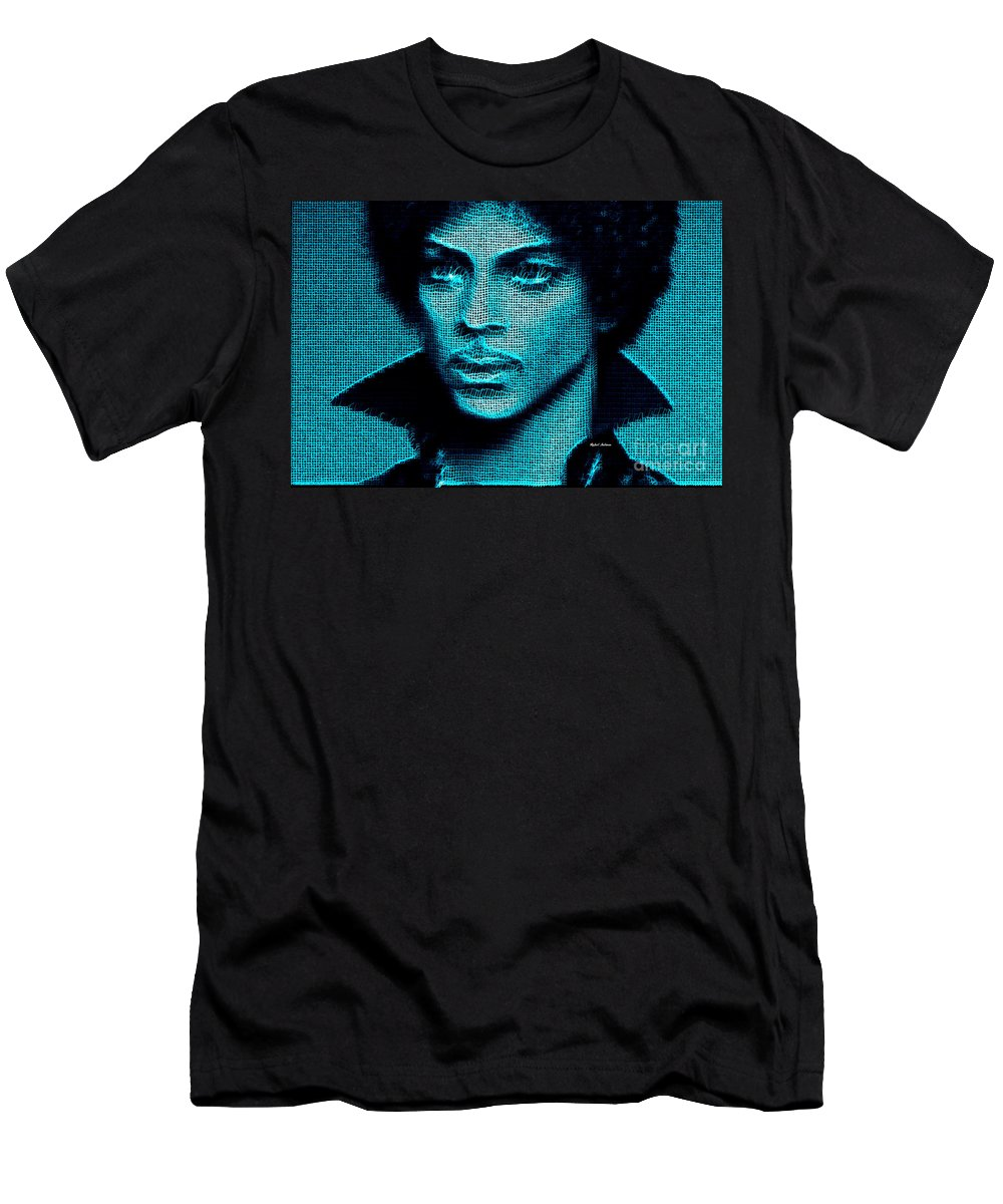 Prince Men's T-Shirt (Athletic Fit) featuring the digital art Prince - Tribute In Blue by Rafael Salazar