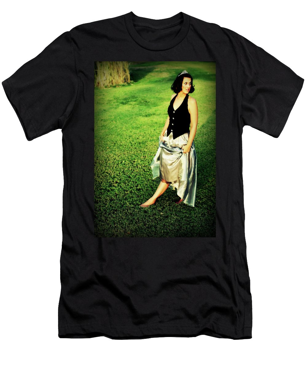 Woman Men's T-Shirt (Athletic Fit) featuring the photograph Princess Along The Grass by Charles Benavidez