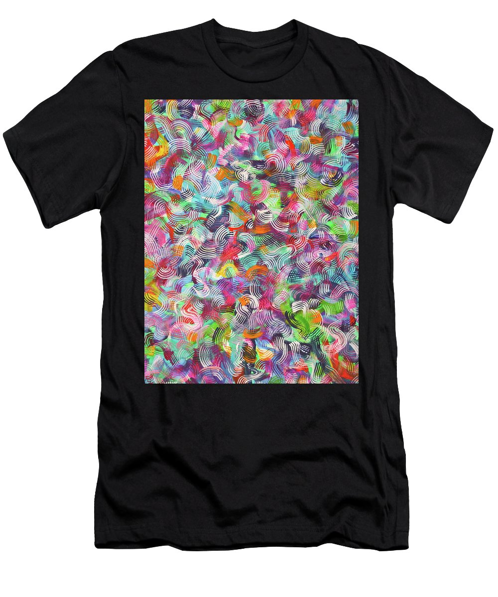 Bright Colors Blended Endlessly Using A Bazillion Fine Lines Overlapping And Changing Colors .vibrant Hued Rainbow Of Color .white Accents Throughout . T-Shirt featuring the painting Prism populate right by Priscilla Batzell Expressionist Art Studio Gallery