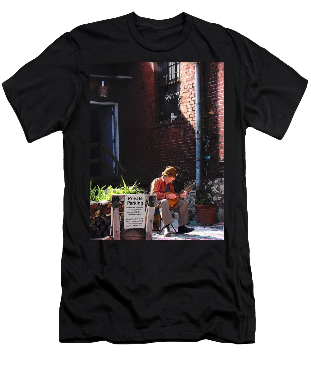 City Scape Men's T-Shirt (Athletic Fit) featuring the photograph Private Parking by Steve Karol