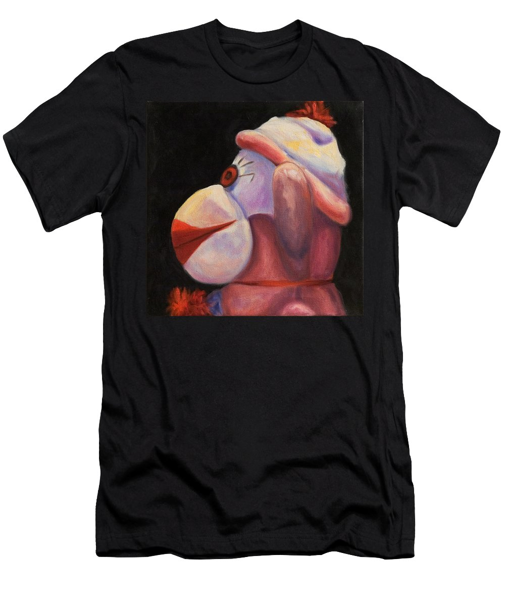 Monkey Men's T-Shirt (Athletic Fit) featuring the painting Profile by Shannon Grissom