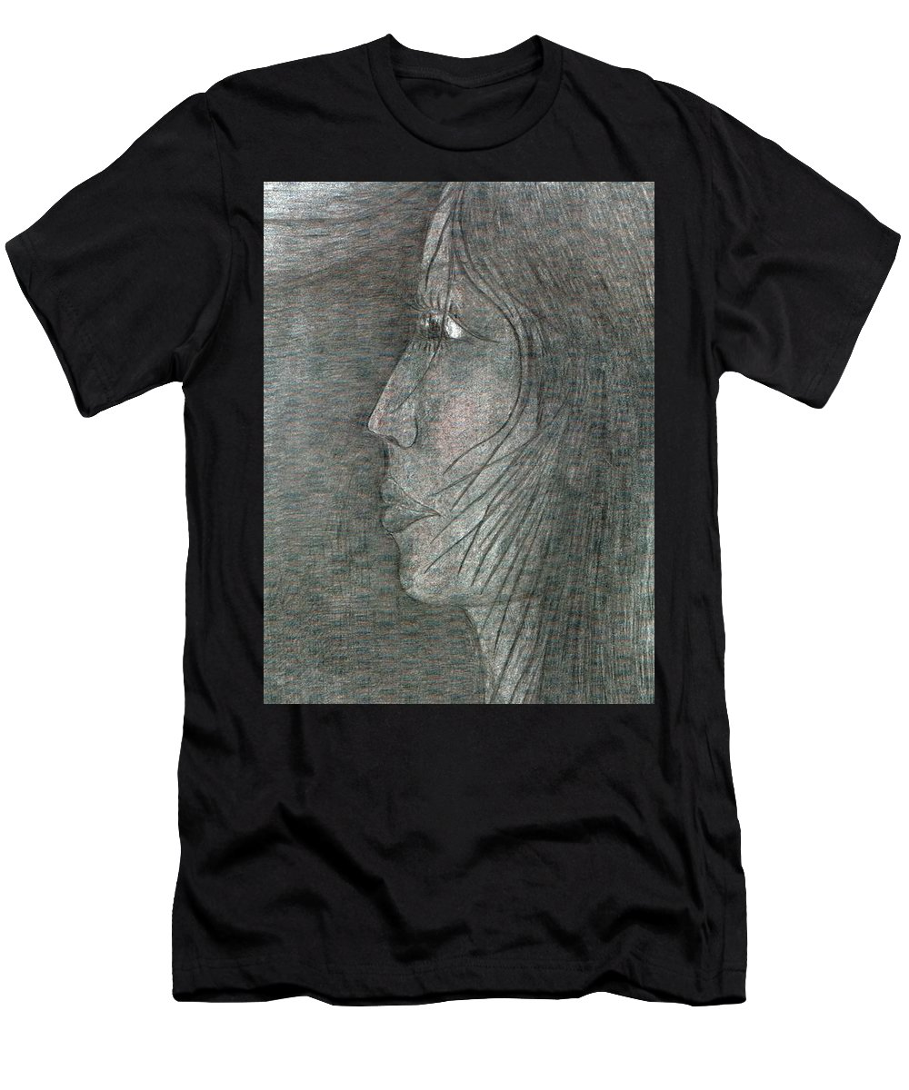 Psychedelic Men's T-Shirt (Athletic Fit) featuring the painting Profile by Wojtek Kowalski