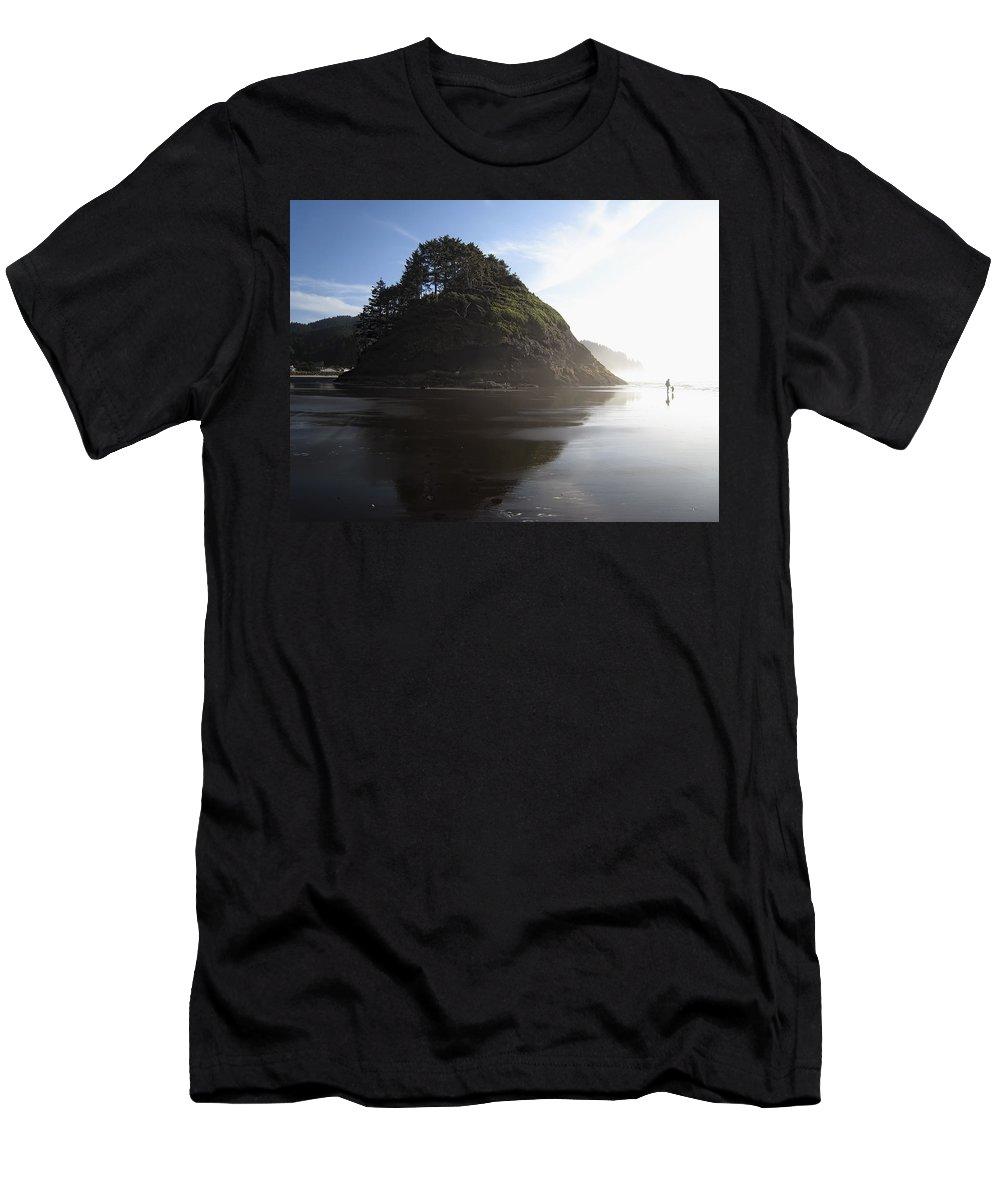 oregon Coast Men's T-Shirt (Athletic Fit) featuring the photograph Proposal Rogue Wave Rock - Oregon Coast by Daniel Hagerman