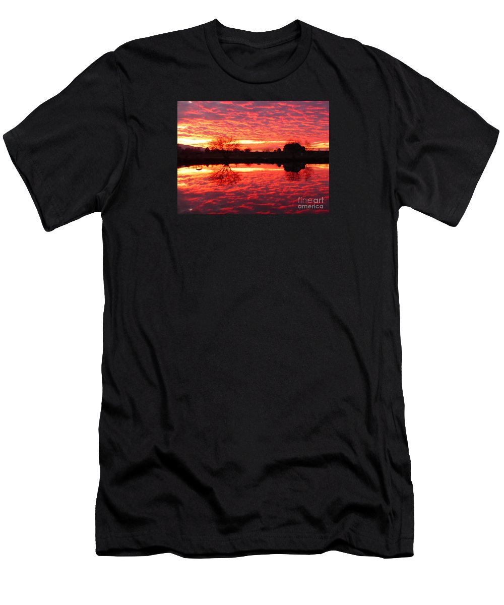 Orange Men's T-Shirt (Athletic Fit) featuring the photograph Dramatic Orange Sunset by Carol Groenen